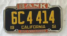 Bank Chevrolet Dealer License Plate Frame San Francisco, CA Restored 1940-1955