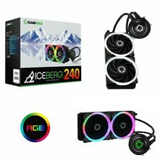 More details for 240mm game max iceberg cpu water liquid cooler cooling system kit 2x pwm led fan