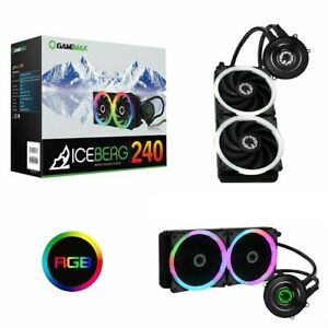 240mm Game Max Iceberg CPU Water Liquid Cooler Cooling System Kit 2x PWM LED Fan