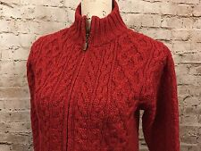 Inis Crafts Full Zip Cable Knit Sweater 100% Merino Wool Red Ireland Womens S