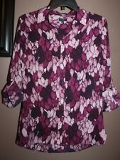Talbots PM Purple Feather Print Button Down Shirt/Top Tab Cuff Sleeve Woven