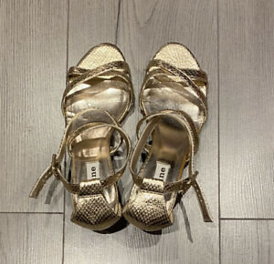 Dune Gold Strappy Kitten Heel Wedding Party Sandals / Size 5 UK 38 EUR