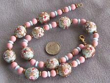 "18.5""  Vintage Venetian Murano Glass Wedding Cake Bead Necklace & Earrings Blue"