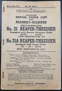 Original Massey Harris Parts List For No 21 & 21A Reaper Thresher, NL49 558 U