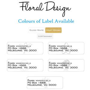 99 Personalised Return address Label Kraft Brown Clear Gloss White Floral Design