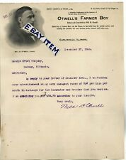 1906 LETTERHEAD Carlinville ILLinois OTWELL'S FARMER BOY Will B. OtweLL farming