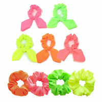 UK Neon Scrunchies Elastic Hair Band Ponytail Hair Tie Rope Scarf Accessories