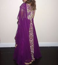Indian maxi dress, purple, embroidered front and back in sizes 8 and 10
