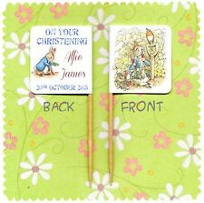 20 PERSONALISED PETER RABBIT CHRISTENING CUP CAKE FLAG Beatrix Potter Topper