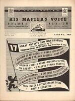 HIS MASTER'S VOICE HMV RECORD CATALOGUE SUPPLEMENT 1951 08 edinburgh festival