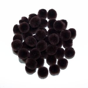 0.5 inch Brown Tiny Craft Pom Poms 100 Pieces