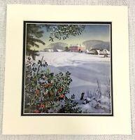 1955 Vintage Aufdruck Englisch Winter Schnee Landschaft Land Haus Mansion Rural