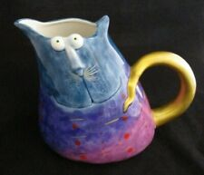 "Studio Designwork ""Cat"" Hand Painted Decorative Pitcher with Golden Tail/Handle"