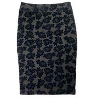 Review Women's Size 8 Black Velvet Textured Roses Knee Length Pencil Skirt