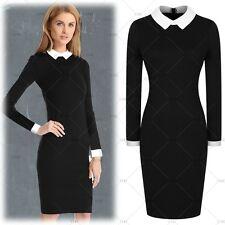 Women's Elegant Lapel Long Sleeves Evening Party Business Causal Slim Dress