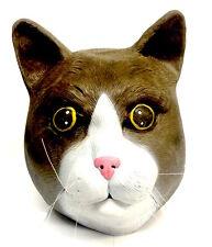 Brown & White Cat Mask Halloween Fancy Dress Feline Costume Animal Pet Full head