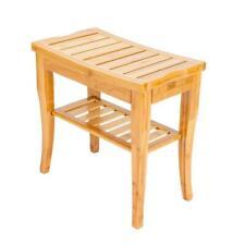 Furniture Bamboo Shower Bench Storage Shelf Bath Room Wood Seat Spa Sauna Stool