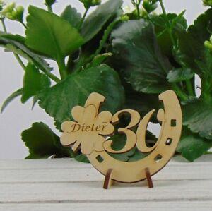Personalisiertes Geschenk zum 30. Geburtstag Hufeisen Kleeblatt