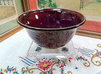 "ARTIST SIGNED CDS  ART POTTERY PIGEON BLOOD HIGH GLOSS DRIP GLAZE 8"" BOWL 1984"
