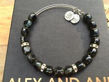 Russian Silver Beaded Rhinestone Bangle Bracelet Alex and Ani Jet Black Eden