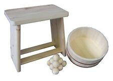 Hoshino Onsen Bath 3pcs Set Hinoki Cypress Bath Chair, Oke-Tub & Buth balls F/S