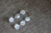 10x12 mm Long 4.5cm  White Keshi Baroque Pearl Earrings