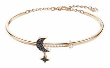 Swarovski Duo Moon Bangle Women's Bracelet - Black, Rose Gold Plated