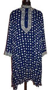 INDIAN DESIGNER BRAND RITU KUMAR BEADED EMBROIDERY VINTAGE DARK BLUE KURTA TOP