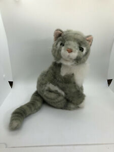 """Horace plush cat realistic gray white striped plush 20"""" might be Russ"""