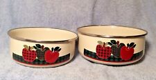Vintage Set Of 2 Enamel Metal Nesting Bowls Apple Design Ingleman Thailand