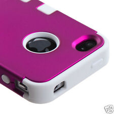 APPLE iPHONE 4 4S MULTI LAYER TUFF HYBRID CASE ACCESSORY HOT PINK/WHITE