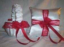 WHITE SATIN / RED LACE TRIM FLOWER GIRL BASKET & RING BEARER PILLOW #1