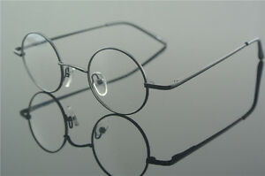 42mm Vintage Round Spring Hinges Eyeglass Frames Black Glasses Clear Lens Myopia