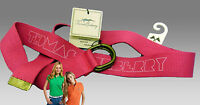 """New Authentic Ladies Vintage BURBERRY Cotton Cargo Canvas Belt BNWT to 36"""" Pink"""