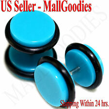 "2047 Turquoise Blue Fake Cheater Illusion Faux Ear Plugs 16G 7/16"" = 11mm - 2pcs"