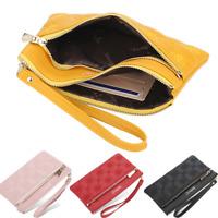 Women Clutch Leather Wallet Handbag Card Holder Double Zipper Long Purse Wallet