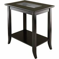 End Table With Glass Top Sofa Side Console Elegant Modern Living Room Furniture