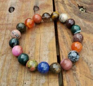 Mixed Gemstone BRACELET, 10MM Tigers Eye, Agate, Quartz, Amethyst, Carnelian