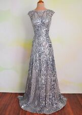 2020 Silver EVENING PROM PAGEANT FORMAL BALL GALA DRESS WEDDING GOWN M 8/10