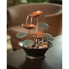 Compact Indoor Water Lily Water Fountain Cascading Relaxing Zen Tabletop Décor