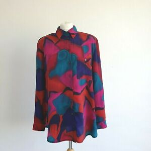 VINTAGE | Amazing Red Patterned 80s Lightweight Retro Style Long Sleeve Shirt M