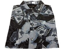 Surprise Men's 100% Silk Casual LS Button-Front Shirt Charcoal Multi M