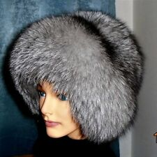 Top  quality FRESH FUR Silver fox fur HAT. Extremely soft Big inside & out.