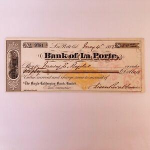 1882 BANK OF LA PORTE Check w/ Revenue Imprint, PLUMAS CO. CAL., Miners Gold Ore