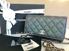 New 19S Authentic Chanel Wallet on Chain pearl CCs clutch iridescent black WOC