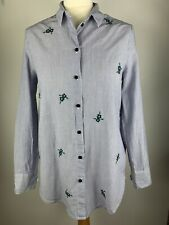 Topshop Maternity Striped Floral Embroidered Button Down Shirt, 100% Cotton, 10