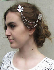 Silver Leaf Hair Chain Clips Vine Headpiece Bridal Vintage Grecian Headdress T64