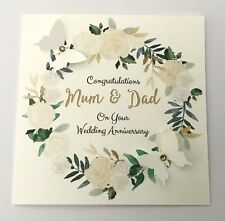 Personalised Wedding Anniversary Card Golden 25th 30th 60th Mum Dad Wife