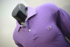 41496 Mens Vineyard Vines Whale Purple Long Sleeve Golf Polo Shirt Size Small