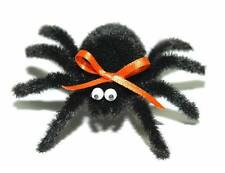 LARGE FUZZY BLACK HALLOWEEN SPIDER PIN BROOCH OR HAIR CLIP (P003)